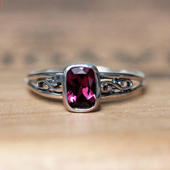 Cushion Rhodolite Infinity Silver Ring