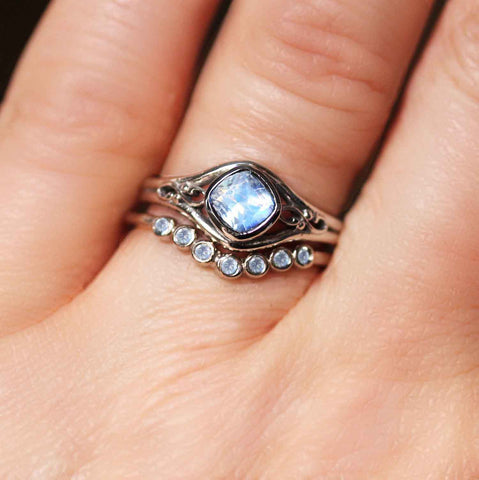 Rainbow Moonstone Ring with Moonstone Band, Sterling Silver