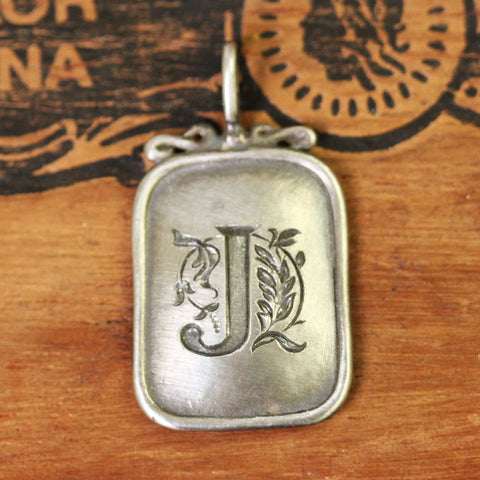 Antique Rectangle Monogram Pendant- J