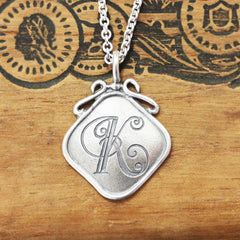 Antique Style Monogram Silver Square Pendant- Your choice Initial