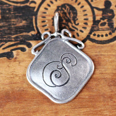 Antique Style Initial Silver Square Pendant- S