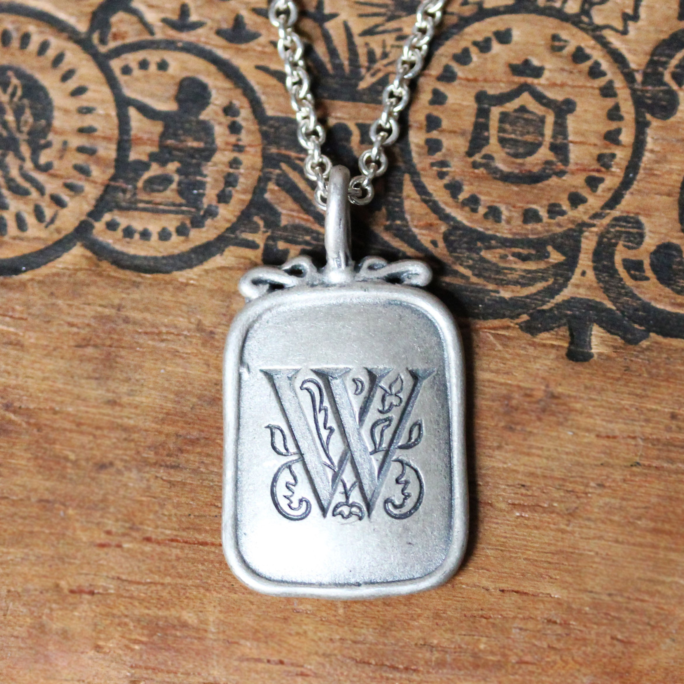 Vintage Style Monogram Silver Pendant- Your choice Initial