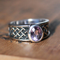 Mens Braided Amethyst Ring