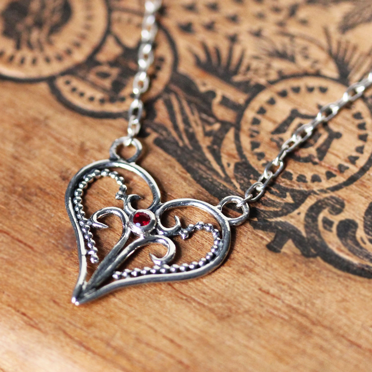 Ruby Artisan Heart Necklace, Lace heart