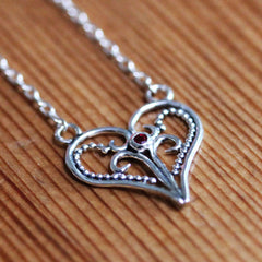 Artisan Moissanite Heart Necklace, Lace heart