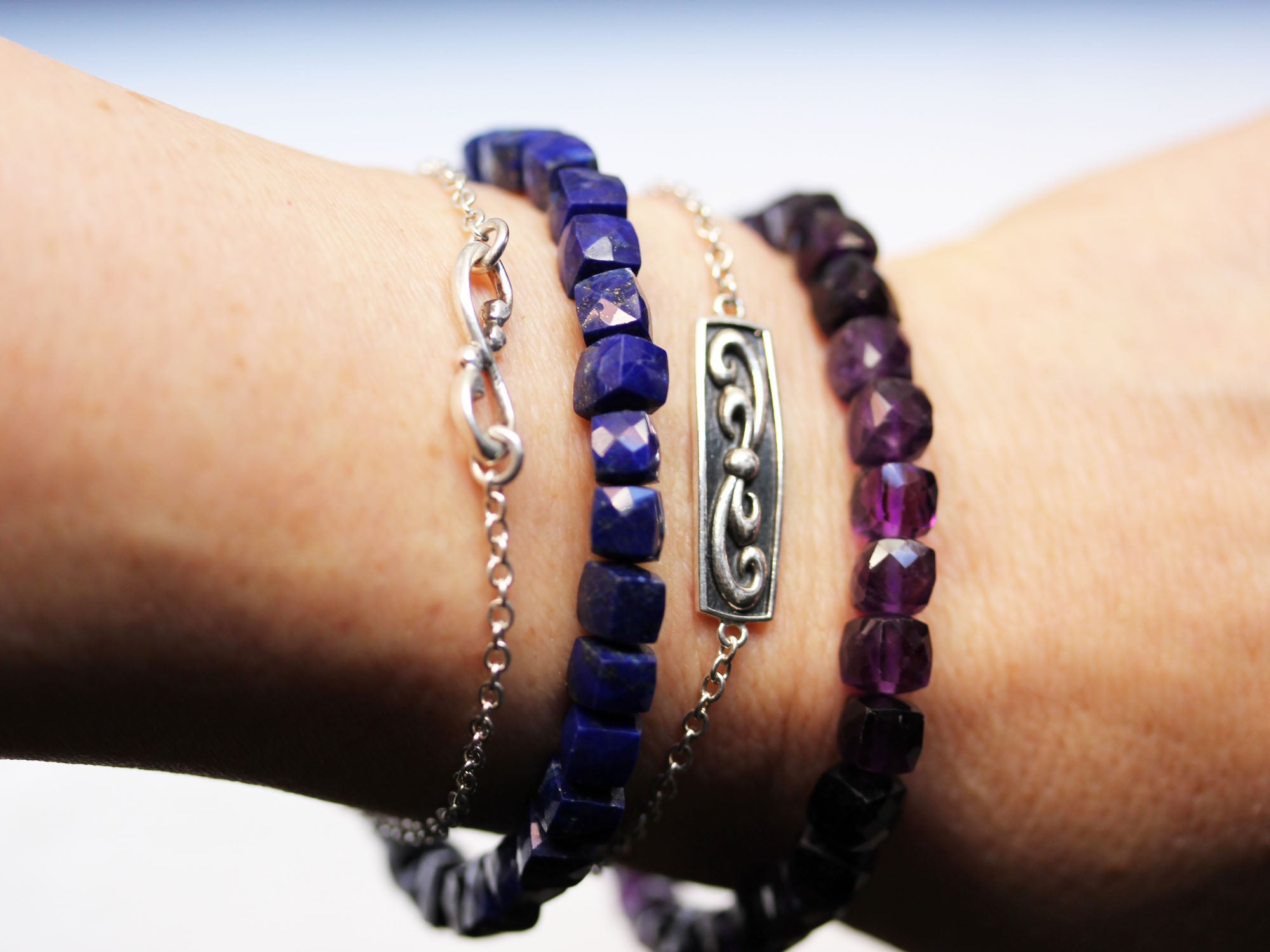 Gemstone Cube Stretchy Bracelets - 4 choices!