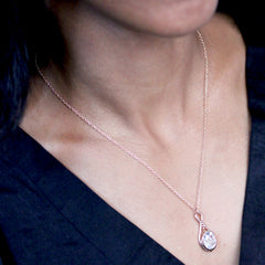 White Topaz Pendulum Necklace, 14k rose gold
