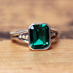 Emerald Cocktail Ring, sterling silver