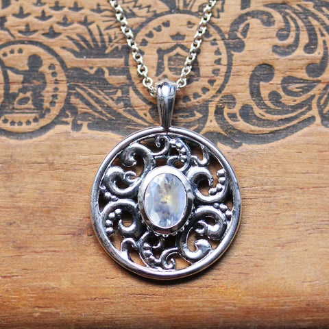 Moonstone Lilac Pendant, Silver