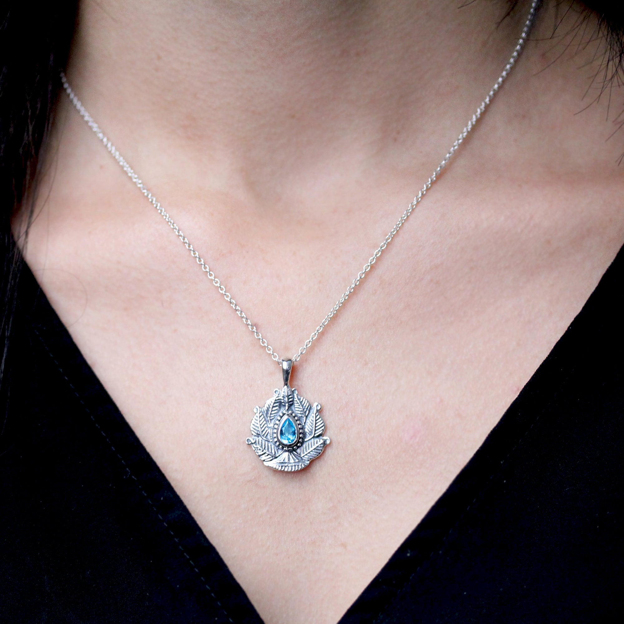 Silver Lotus Necklace Teal Blue Topaz, Sterling Silver
