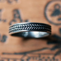 Silver Braided Wedding Band, Wheat, Ready to Ship in Size 7