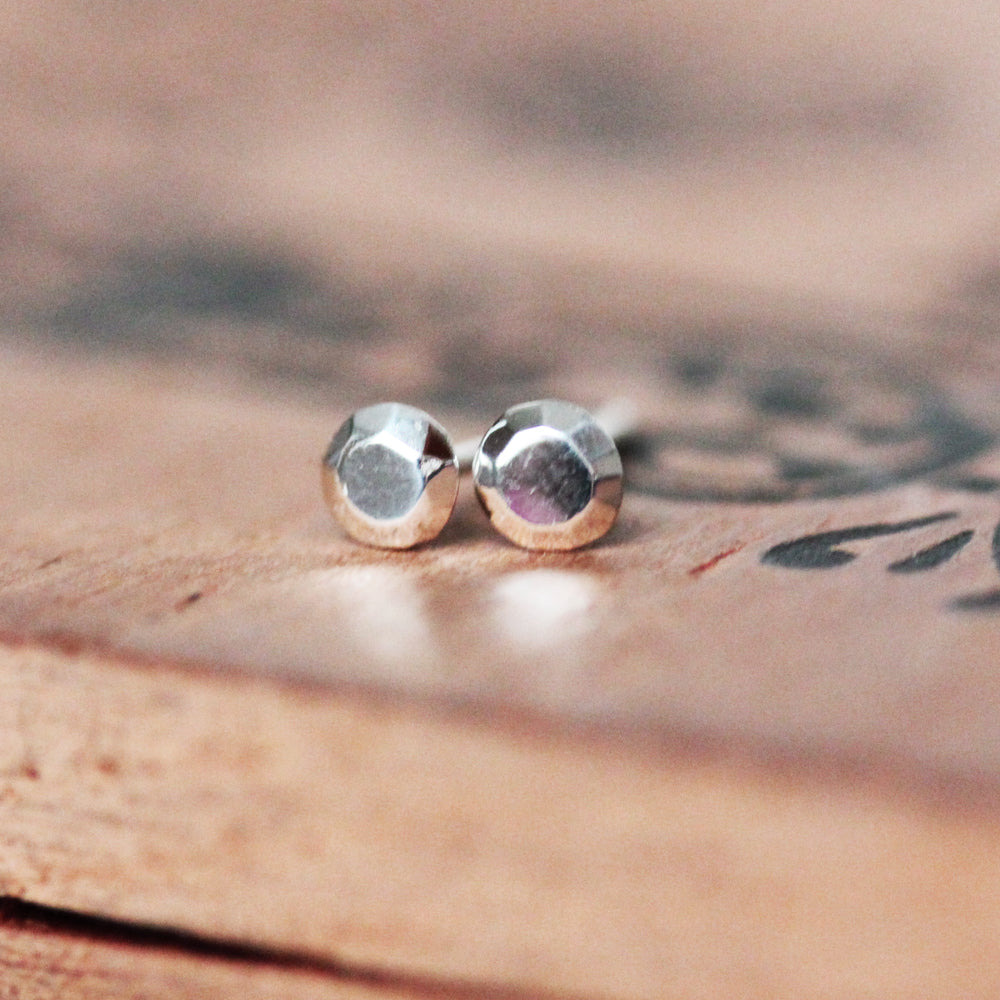 Tiny Round Stud Earring- sterling silver