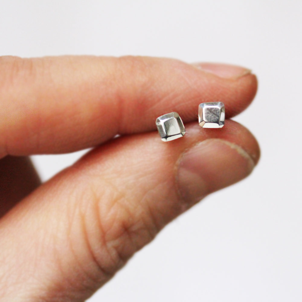 Tiny Square Stud Earring- sterling silver