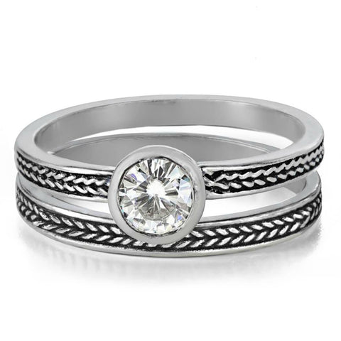 Moissanite Engagement Ring Set, Silver Wheat