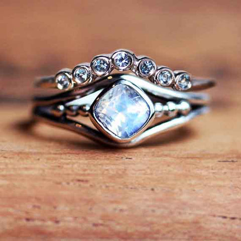 Rainbow Moonstone and Aquamarine Engagement Ring Set