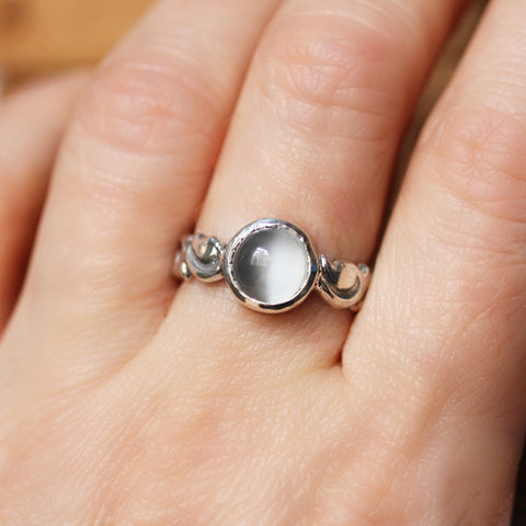 White Moonstone Cabochon Ring, sterling silver