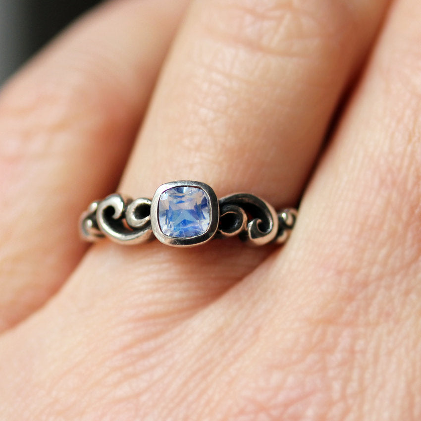 Rainbow Moonstone Ring, Water Dream
