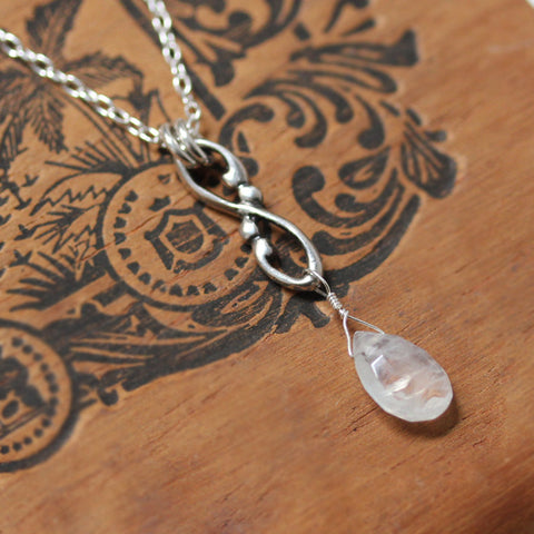Infinity Swirl Moonstone Briolette Necklace