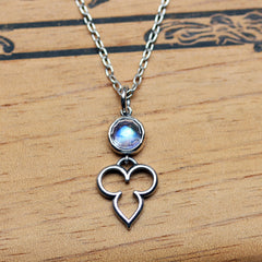 Rose Cut Rainbow Moonstone Temple Necklace