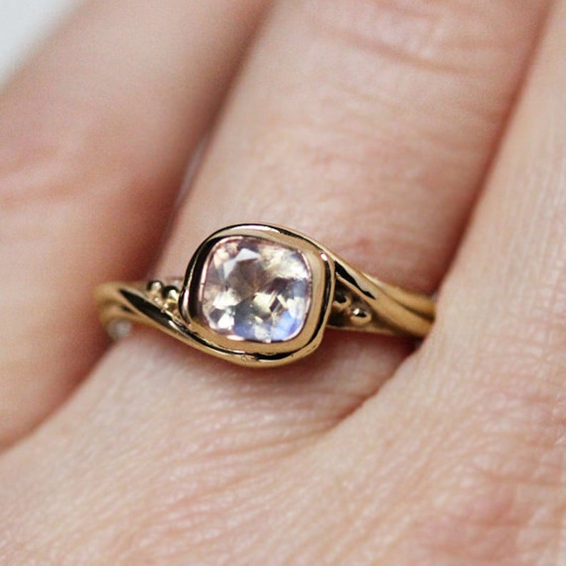 Yellow Gold Moonstone Engagement Ring, Cushion Pirouette