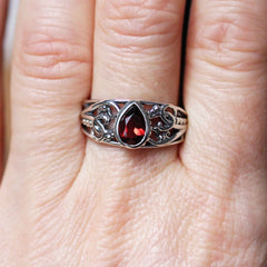 Garnet Nightshade Ring, Silver