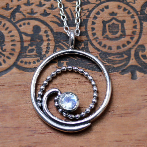 Rainbow Moonstone Silver Wave Necklace
