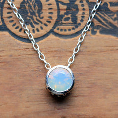 Opal Bezel Necklace Silver Wrought