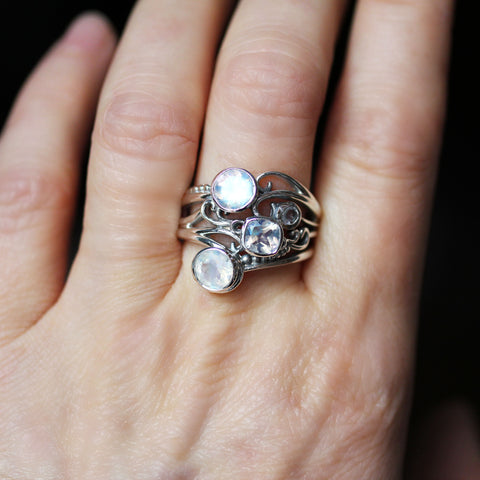Moonstone Oracle Ring in Sterling Silver