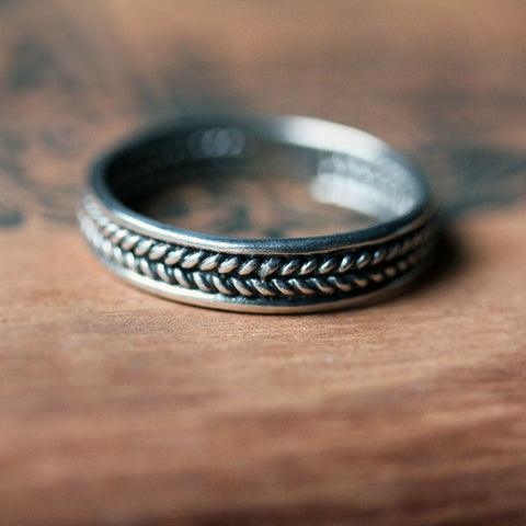 Silver Braided Wedding Band, Wheat