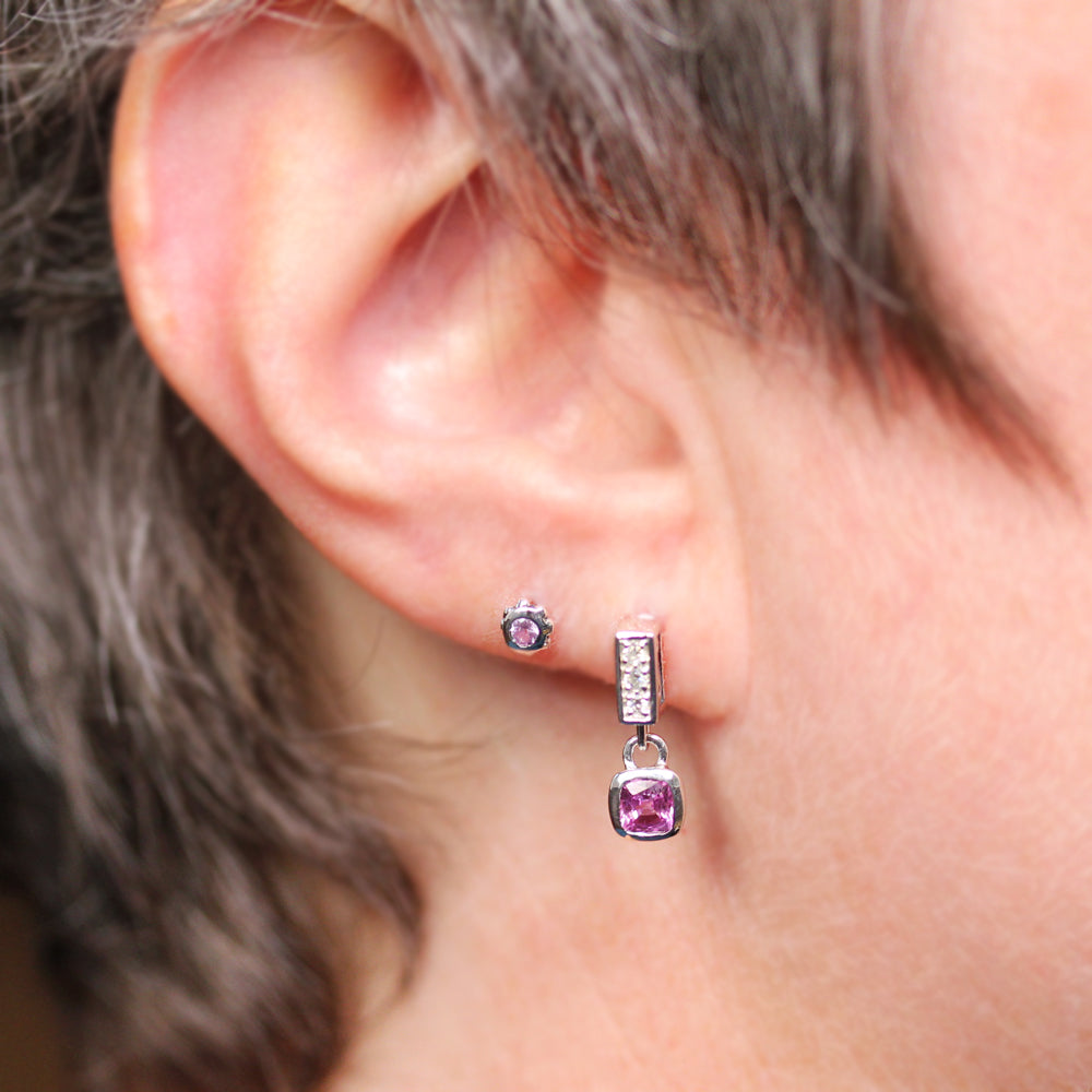 Pavé Pink Sapphire Earrings-Limited Edition