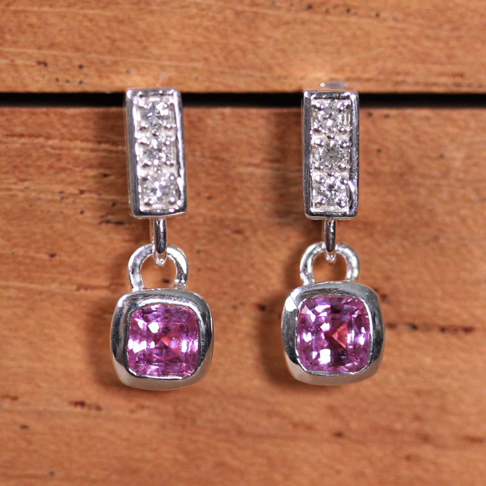 Pavé Pink Sapphire Earrings- LAST ONE