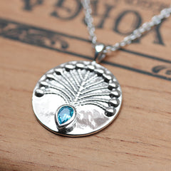 Peacock Blue Topaz Necklace, Sterling Silver
