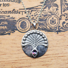 Mystic Topaz Peacock Necklace, Sterling Silver