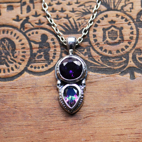 Amethyst and Topaz Multi Stone Pendant in Sterling Silver, Persephone