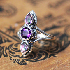 Amethyst and Topaz Multi Stone Ring in Sterling Silver, Persephone