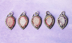 Pink Druzy Pendants, One Of A Kind