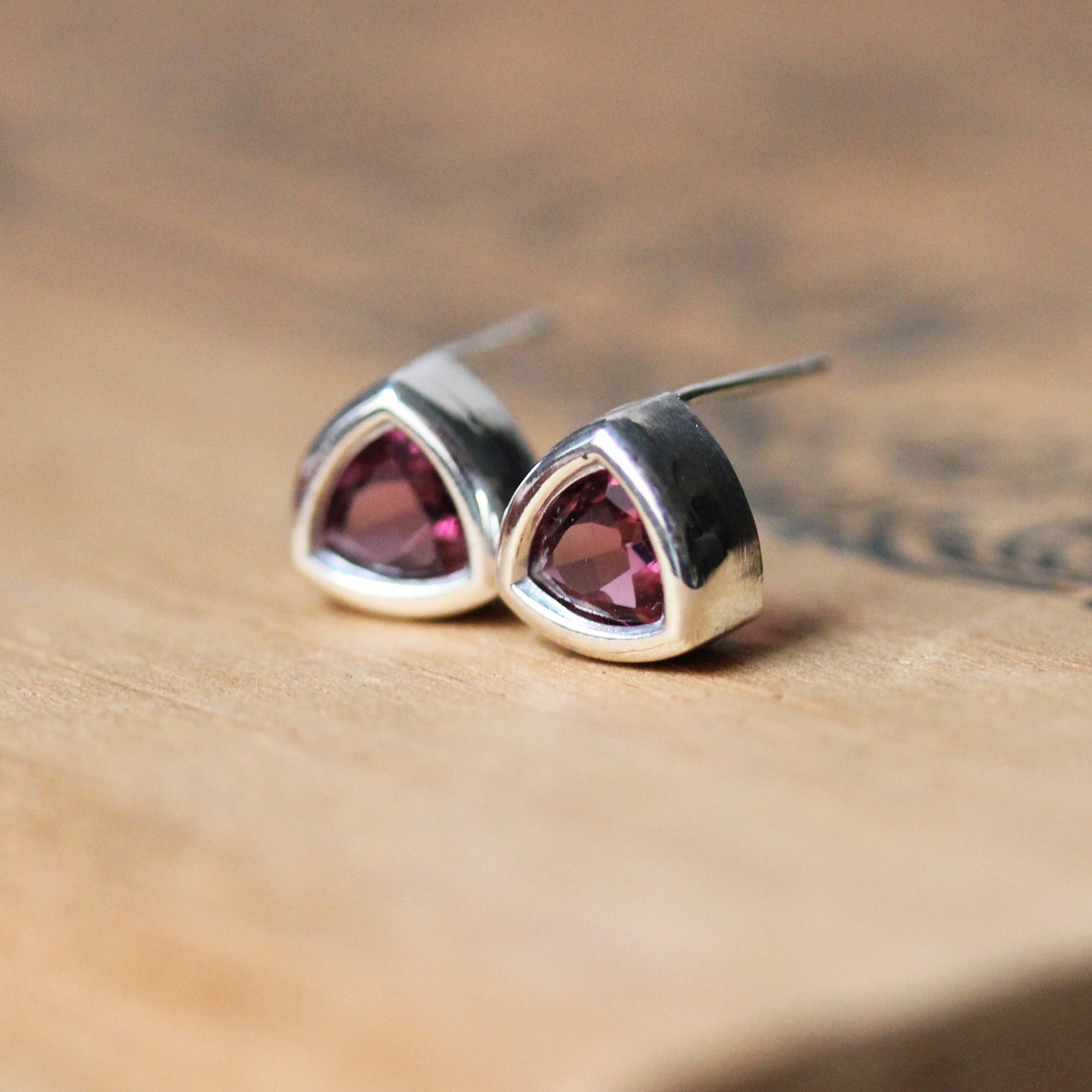 Pink Tourmaline Triangle Stud Earrings
