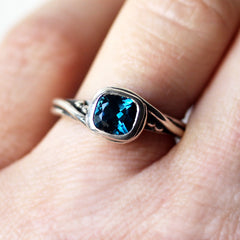 Silver London Blue Topaz Ring, Pirouette Swirl Ring