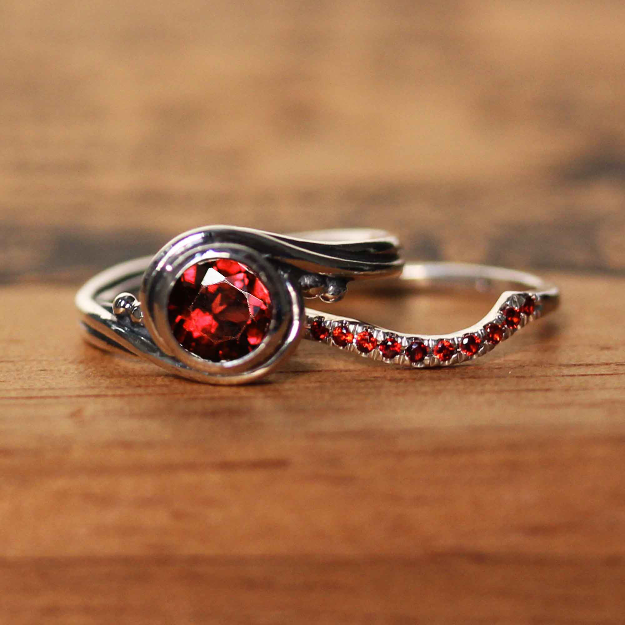 Garnet Engagement Ring With Garnet Band, Pirouette