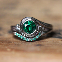 Emerald Engagement Ring With Emerald Band, Pirouette