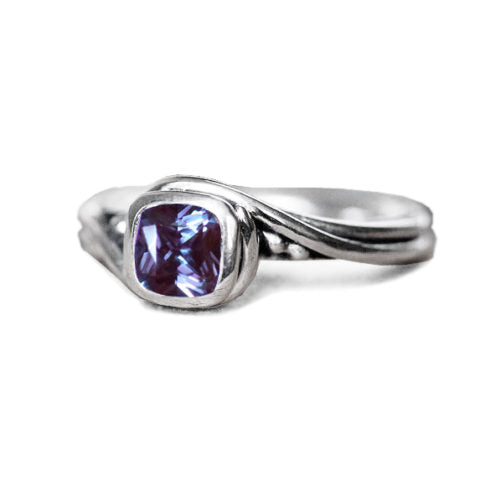 Alexandrite Cushion Cut Ring, Pirouette Ring