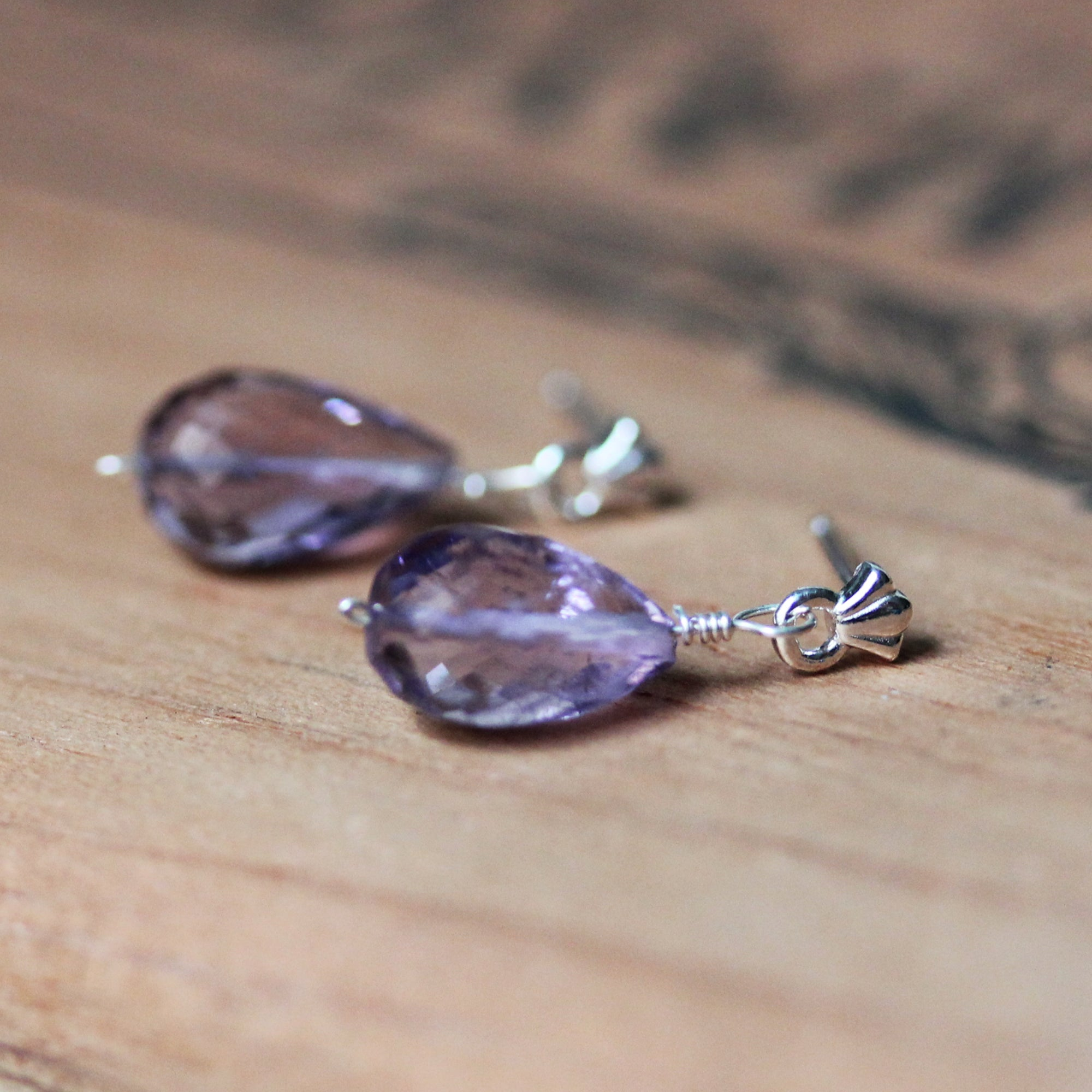 Faceted Amethyst Dangle Earrings
