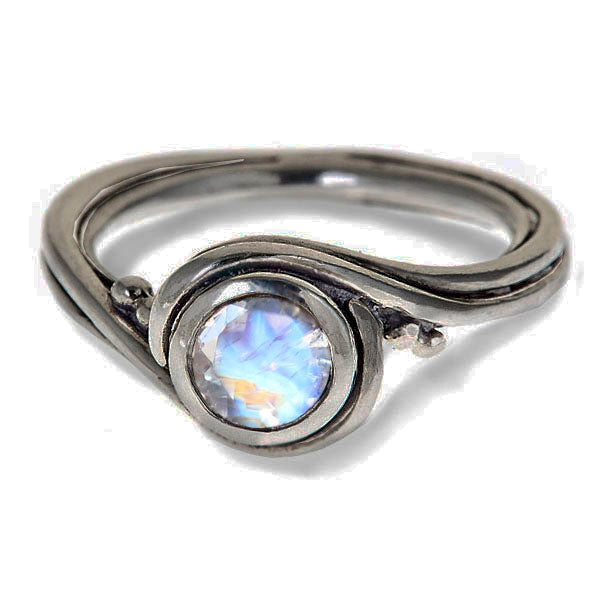 White Gold Rainbow Moonstone Engagement Ring, Pirouette