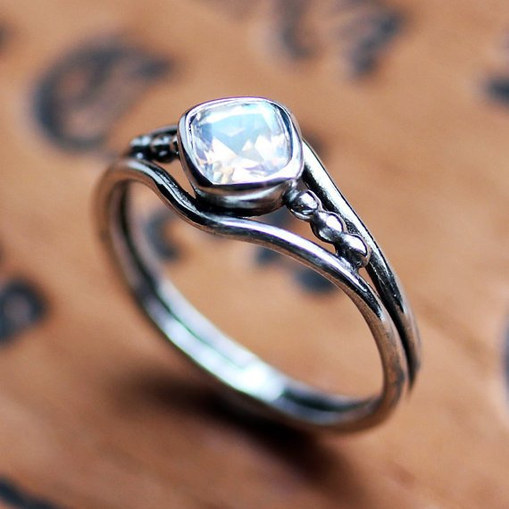 Silver Rainbow Moonstone Ring, size 9