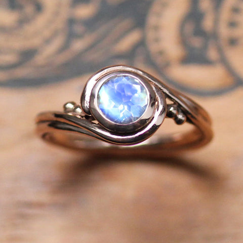 Rose Gold Moonstone Engagement Ring, Pirouette