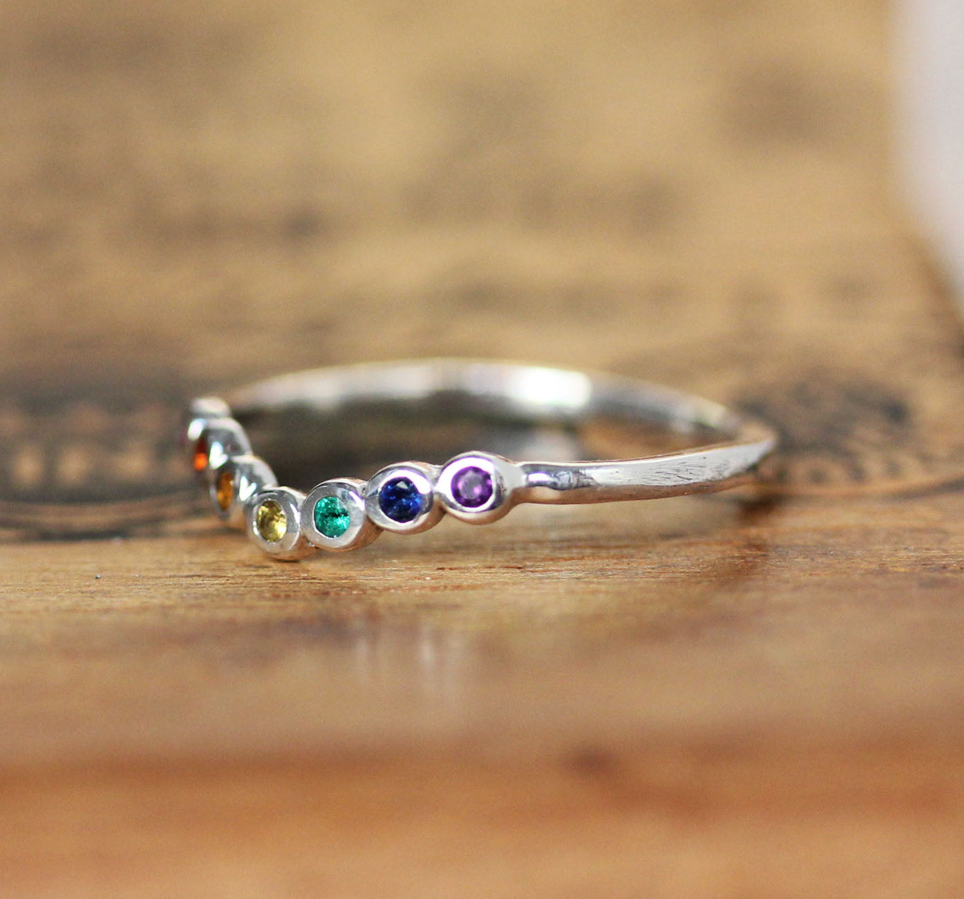 Rainbow Shadow Band, Sterling Silver