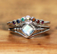 Rainbow Moonstone Ring with Rainbow Shadow Band, Sterling Silver