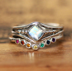Satellite Rainbow Moonstone and Rainbow Shadow Band, Sterling Silver