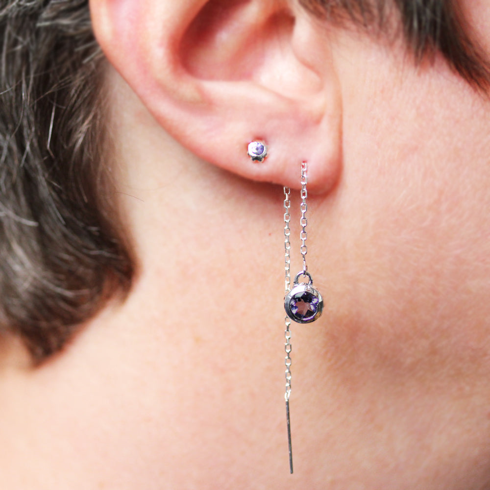 Iolite Threader Earrings-Limited Edition