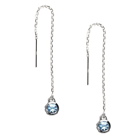 Sky Blue Topaz Threader Earrings